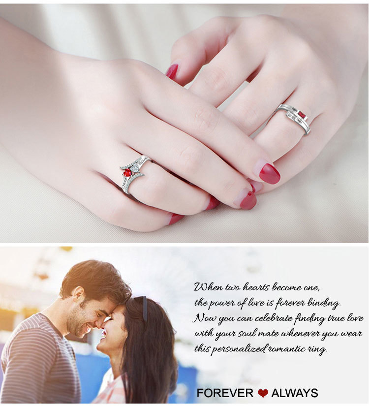 Personalized Couples Name Ring 9a
