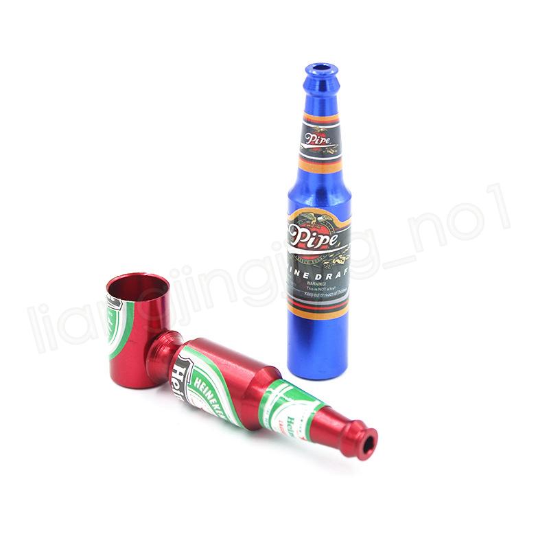 Petit Bouteille De Bière Métal Fumer Pipe À La Main Élégant Mini Taille Tabac Smoke Filter Pipes Portable Brûleur À Huile Pipe À Fumer Accessoires GGA1004