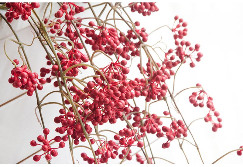 Flone Artificial Flower Branch Fake Red Bean Fruit Vine Simulation Plant Flowers Rattan Wedding Home Party Decoration Floral (14)