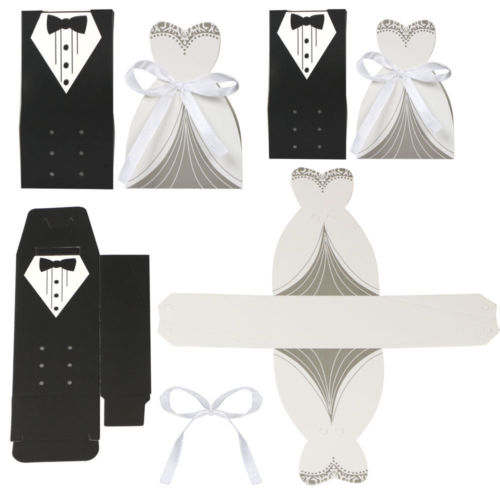 100 Bride and Groom Wedding Favour Candy Boxes Sweets Gift For Guest With Ribbon