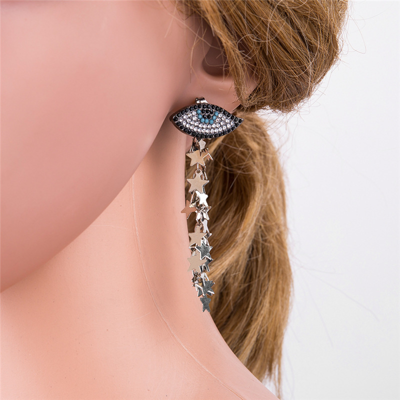 hot sale wholesale Yiwu European New Pattern Personality Exaggeration Earrings Stars Fund Eye Shape Ornaments haif