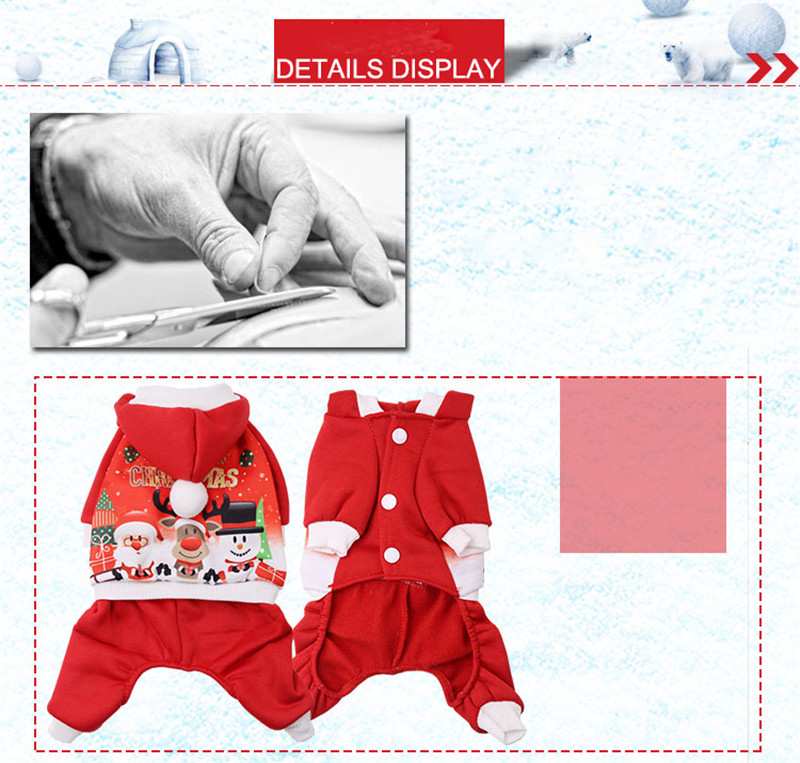 Christmas Pet Dog Sweater Clothes Winter Xmas Santa Reindeer Hoodie Costume Hooded Coat Clothing Suit Cute Puppy Outfit Dogs Apparel Red New