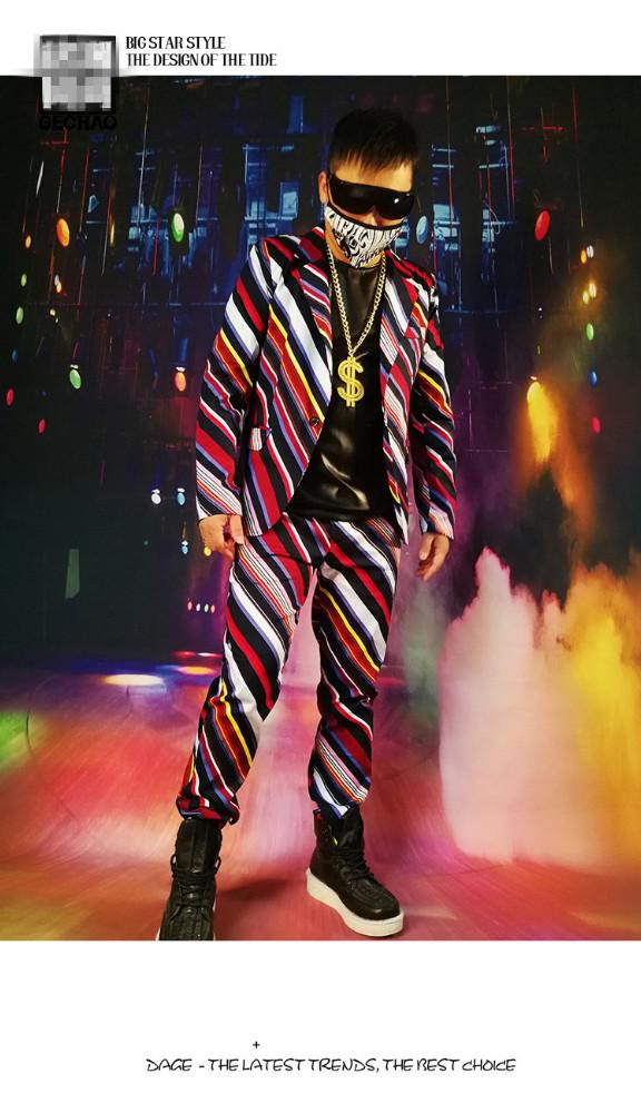 Mann Oblique Farbe Anzug Nachtclub Sänger Bar Show Men Sänger DJ Bühne Tragen Star Konzert Leistung Kostüm