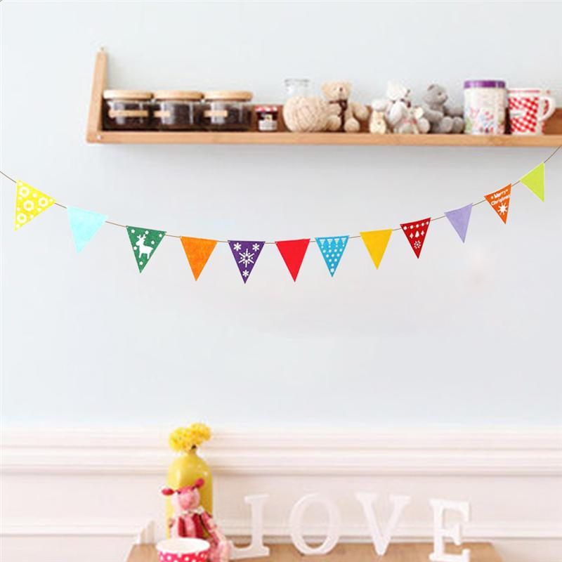 Colorful Pennant Christmas Banner Flags Triangle Felt Garland Bunting Banner Decoration for Holiday Home Kids Room