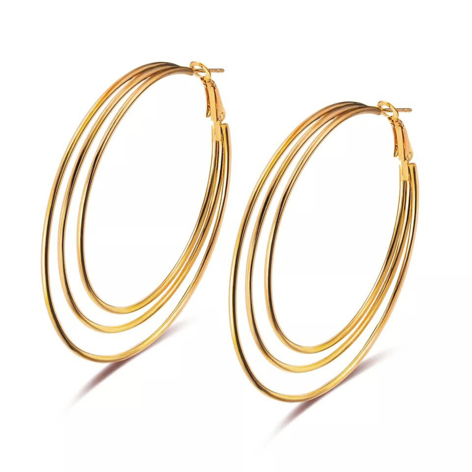 White-Spiral-46mm Rose Gold Plated Silver Plated for Women Girls Hoop Earrings Stainless Stee Hoop earrings in 18K Gold Plated 40mm, 46mm, 50mm