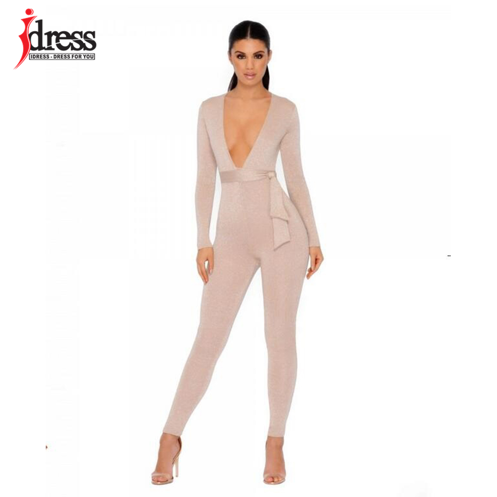 IDress 2018 New Spring Autumn Women\`s Sexy Long Sleeve Black Gold Illusion V Neck Sashes Bodysuit Elegant Rompers Women Jumpsuit (8)