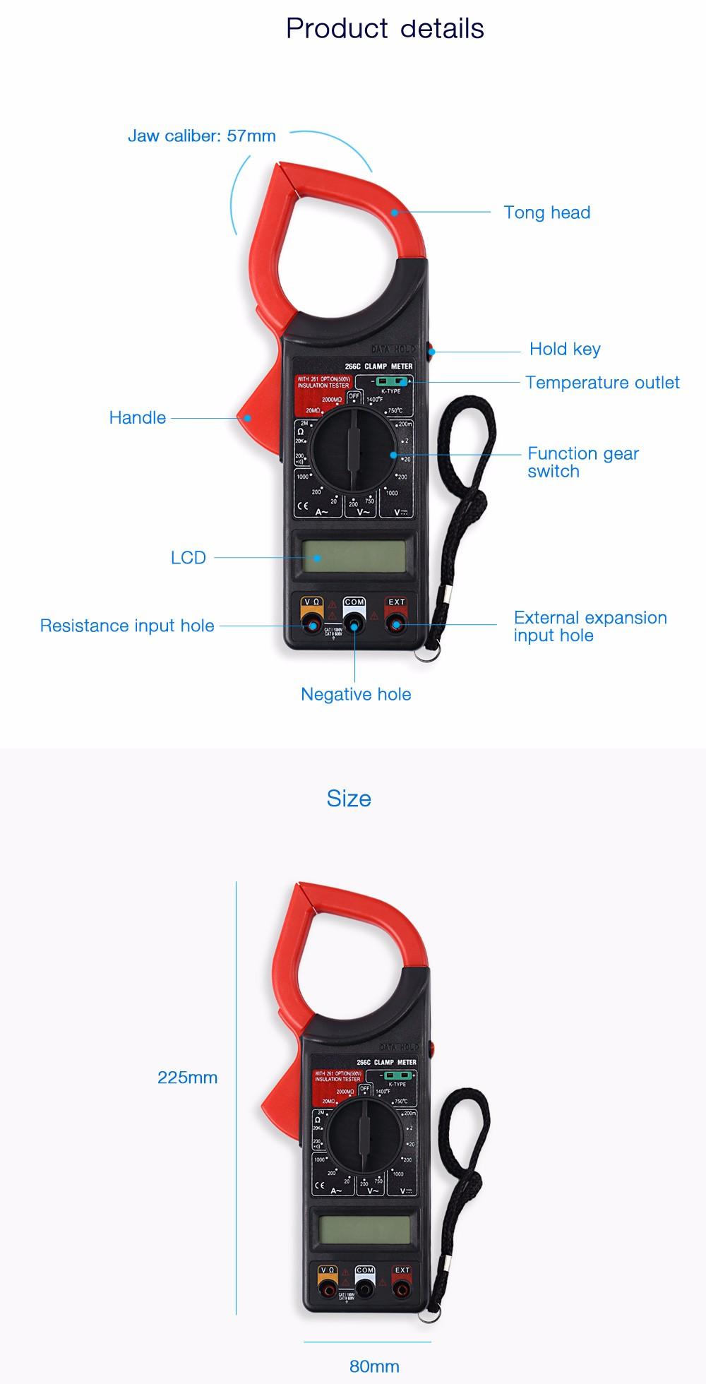 WHDZ 266C Digital Clamp Meter Voltage AC Current Resistance Temperature Test Multimeter