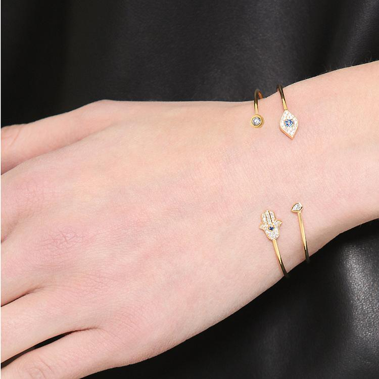 Fatima hamsa hand charms love bracelet adjustable expandable cuff bracelets for women plating alloy crystal charm bangle fit gifts holiday