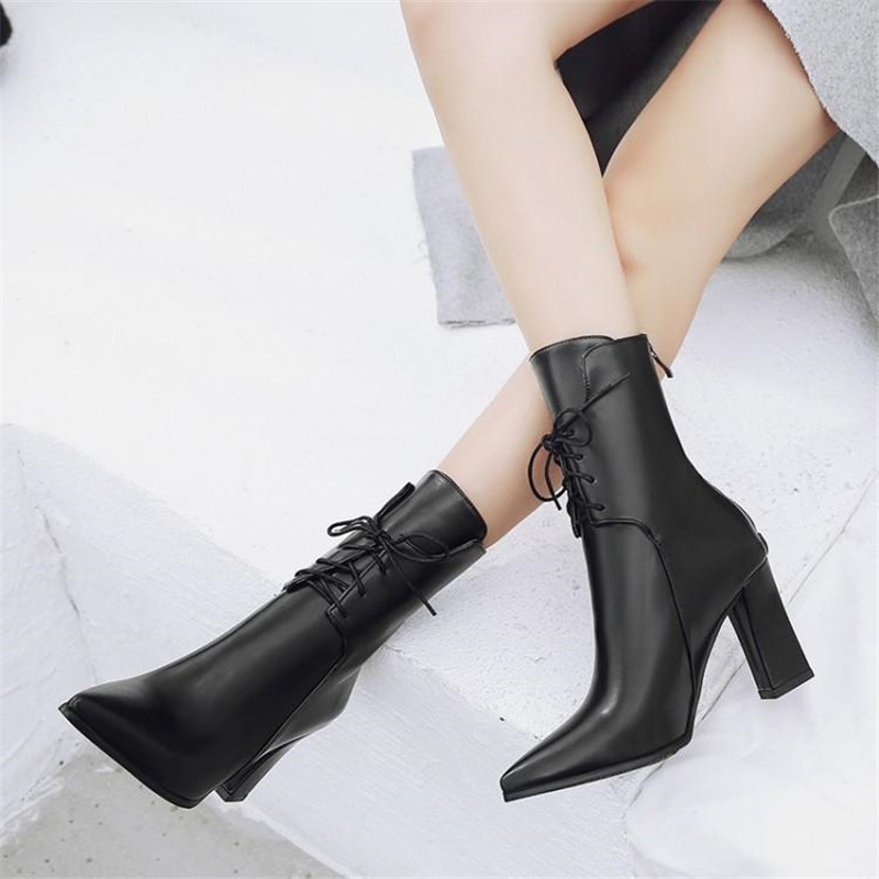 Brand Designers 2018 New Winter Women Shoes Black High Heels Riding Boots Lacing Platform Ankle Boots Chunky Heel Big Size 32-43 (21)