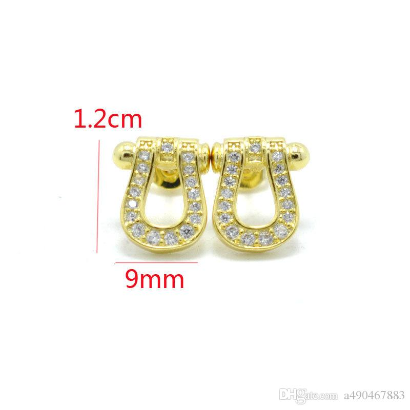 Fashion jewerly gem Stud Earrings 18K gold plated copper Semicircle Classical Love Earrings Women Piercing Jewelry for woman