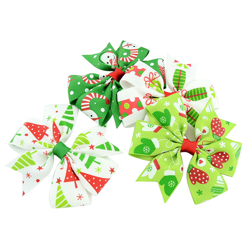 3 inch Girls Christmas hairpins Barrettes Pinwheel bow with clip children snowflake snowman hair accessories princess Layered Bow Hair clips
