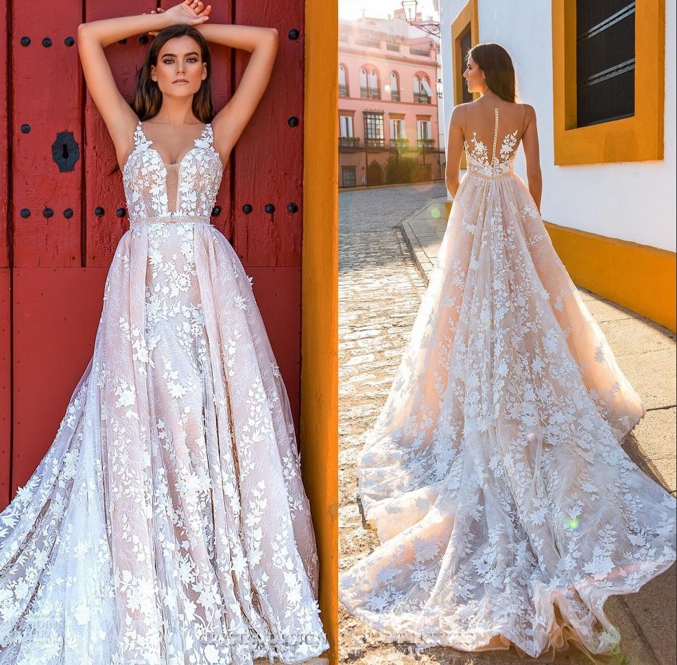 Crystal Design Brautärmel Straps Tief Tiefer Voll Verschönerung Blush Farbe  A Line Brautkleider Sheer Zurück Royal Train DH18