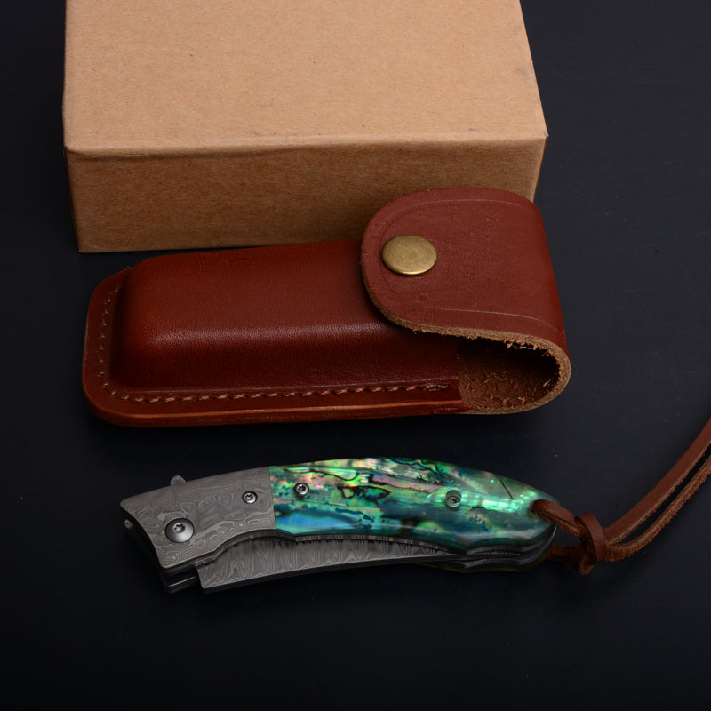 Tanto Blade Damascus Tactical Folding Pocket Knife Wood Natural Abalone Handle Top Quality Tactical Rescue Knives EDC Utility Tools P539F