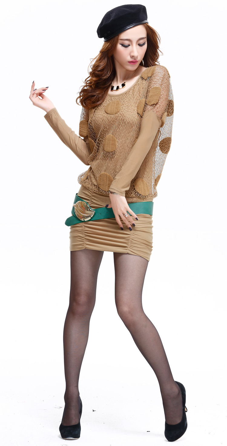 Autumn and Winter New Fashions Women Fake Two Piece Set Slim Hip Long Sleeved Dress Short Skirt with Belt A0068