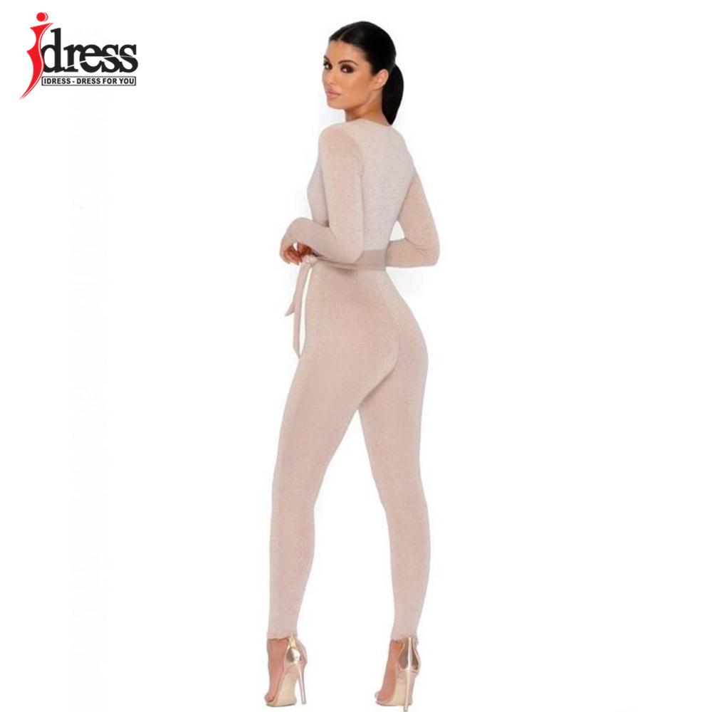 IDress 2018 New Spring Autumn Women\`s Sexy Long Sleeve Black Gold Illusion V Neck Sashes Bodysuit Elegant Rompers Women Jumpsuit (9)