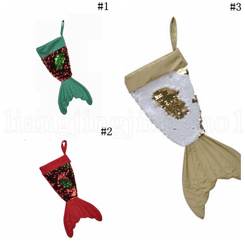 Christmas Mermaid Reversible Sequins Socks 3 Styles Christmas Tree Home Pendants Santa Claus Socks Christmas Decorations Toy OOA5814