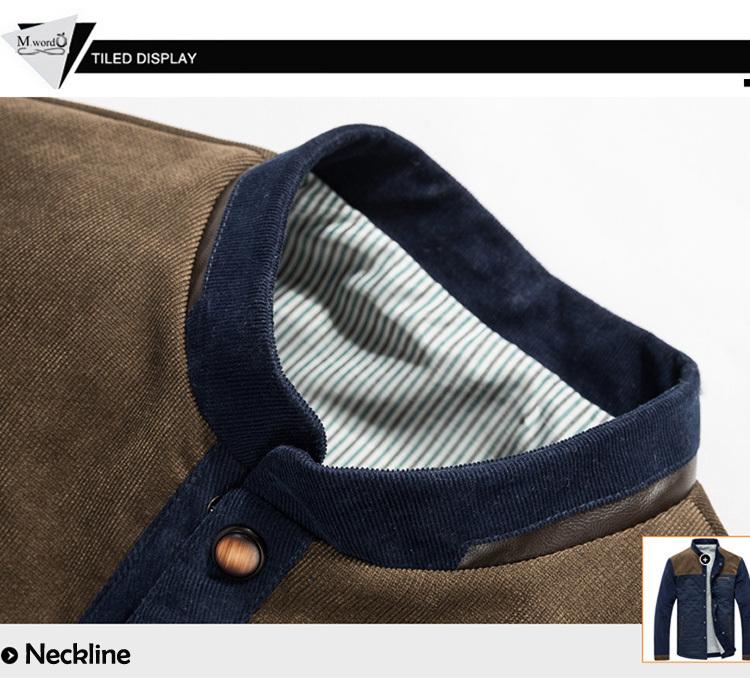 Hombres de la marca Mwxsd slim fit Chaqueta y abrigo para hombres casual stander collar Chaquetas Casual Windcheater chaqueta de algodón S18101804