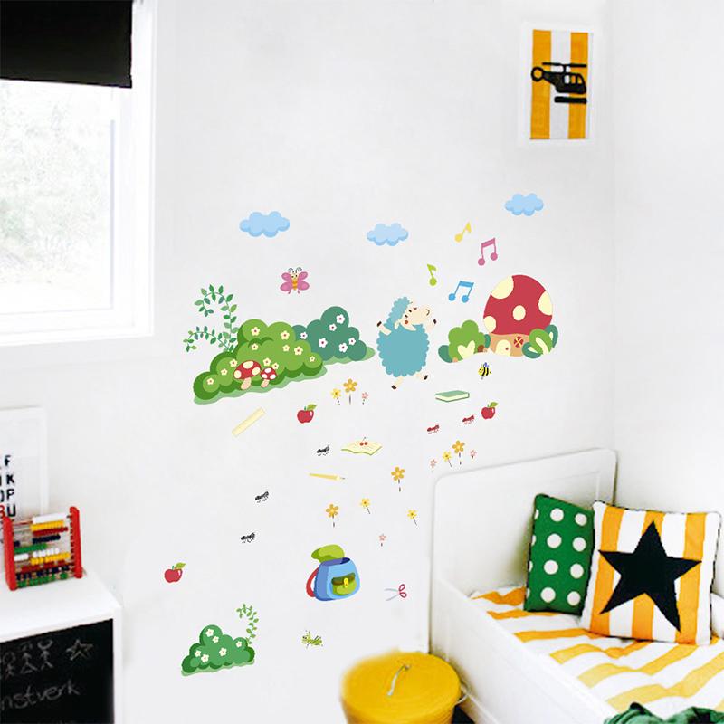 Sheep Ant Bee Decorative Wall Stickers Living Dinner Room Decorations Cartoon Animals Plants PVC Decor Wall Art DIY Mural Decalshaif