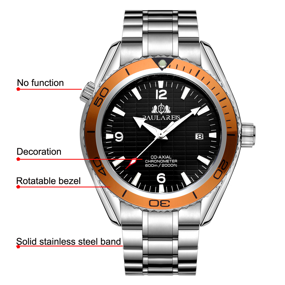 Men Automatic Self Wind Mechanical Stainless Steel Strap Simple Orange Blue Black Bezel James Bond 007 Style Date Business Watch Y1892111
