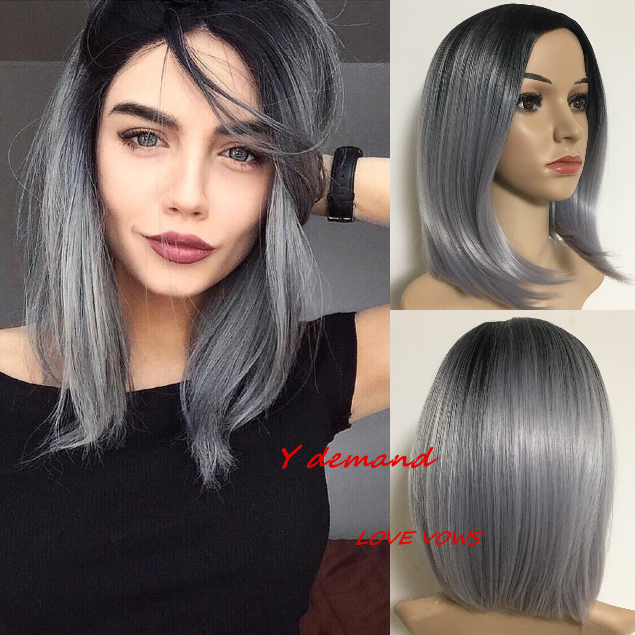 Discount Black Grey Ombre Short Hair Black Grey Ombre Short Hair 2020 On Sale At Dhgate Com