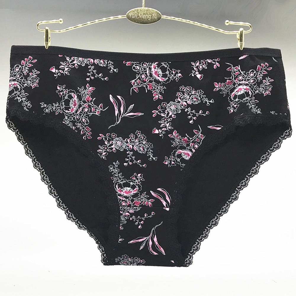 Underwear women cotton plus size panties sexy print floral briefs large woman cute ladies girls intimate3