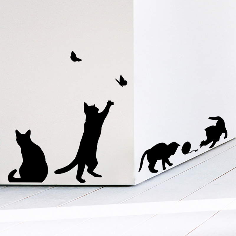 4 cute cats playing wall stickers kids room decorations 707. diy home decals vinyl art animals poster adesivos de paredes haif