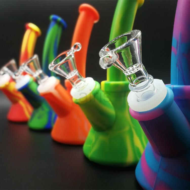 Hoparlör Şekli Renkli 165mm Silikon Su Borusu Bong Sigara Nargile Taşınabilir Herb için Balmumu Yağı Kuru Ot Tütün Cam Su ...