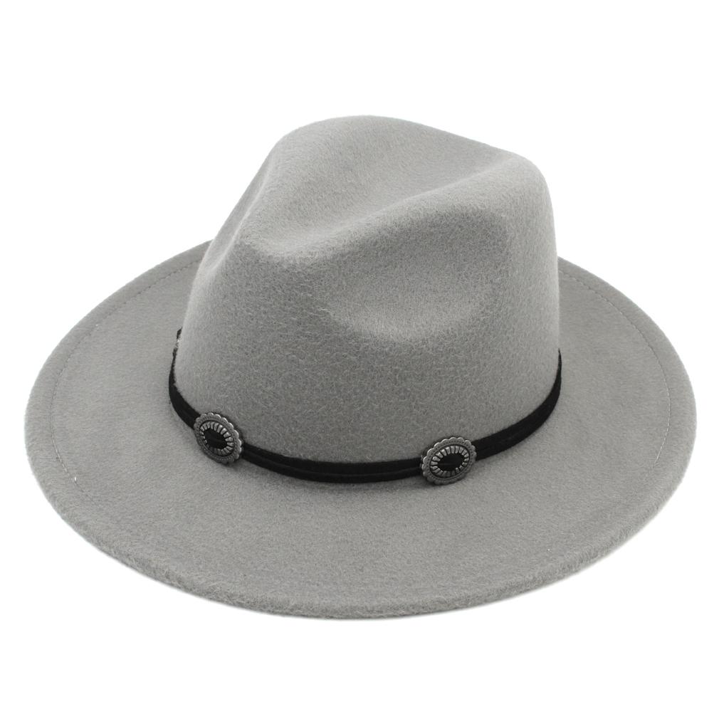 Fashion Wool Blend Wide Brim Panama Cap Top Hat Ladies and Gentlemen Church Hat Jazz Cap Outdoor Beach Sun Hat