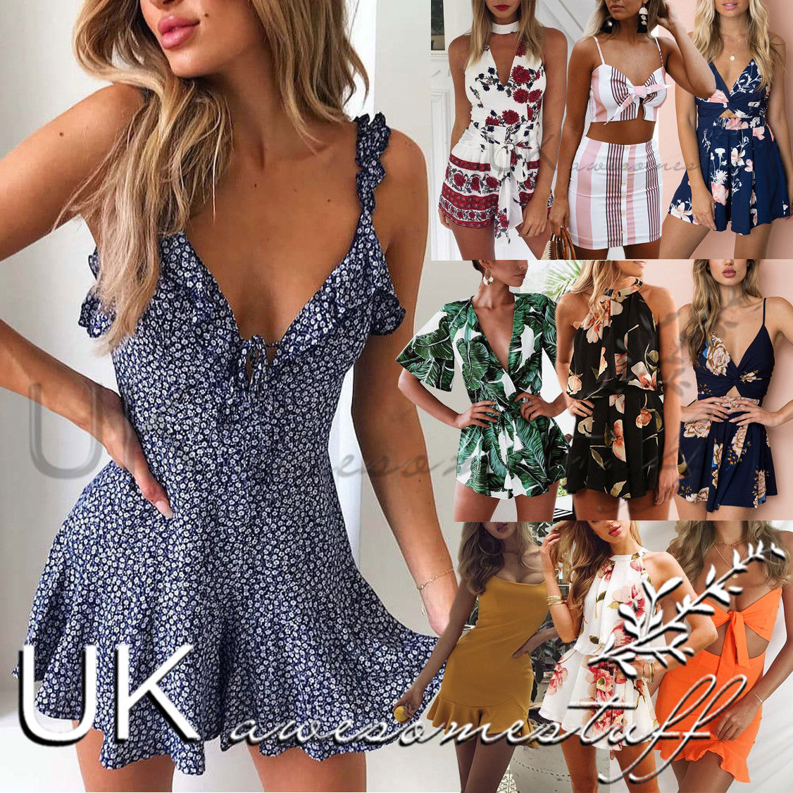 UK Womens Holiday Mini Playsuits Ladies Strappy Beach Summer Cut out Size 6-14