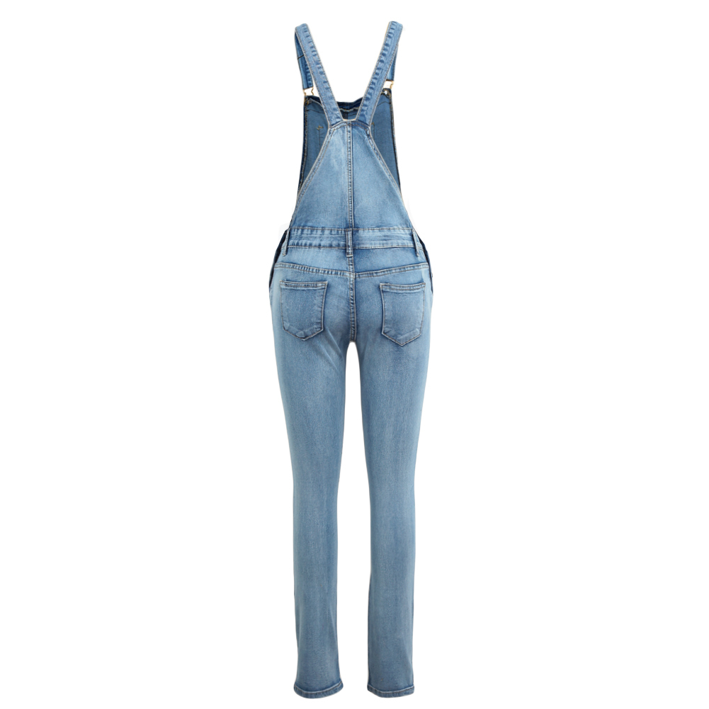 Plus Size Ripped Denim Jumpsuit Women Winter Denim Overalls Pockets Button Casual Dungarees Long Jeans Playsuit Rompers Female