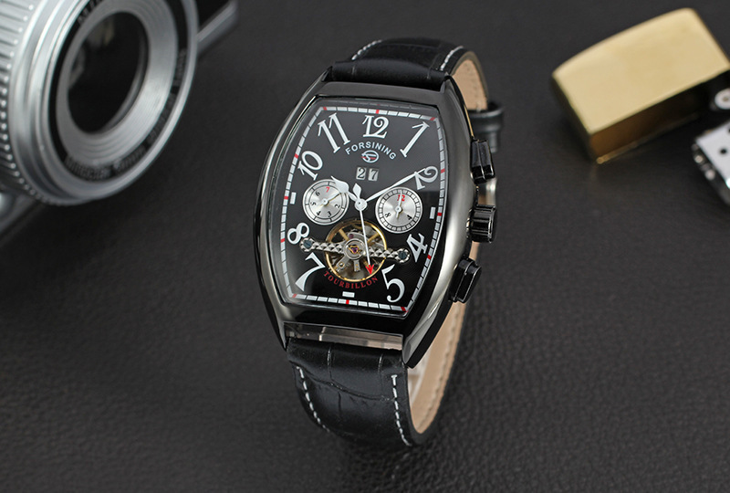 FORSINING Tuo Free Wheel Rose Gold Wine Bucket Shape Clock Dial Belt Calendar Male Surface Fully Automatic Mechanics Belt A911