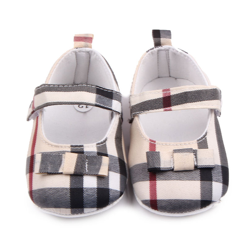 Children Kids Girls Grid Bowknot Shoes First Walkers Bebes Zapatos Ninas Newborn Baby Toddlers