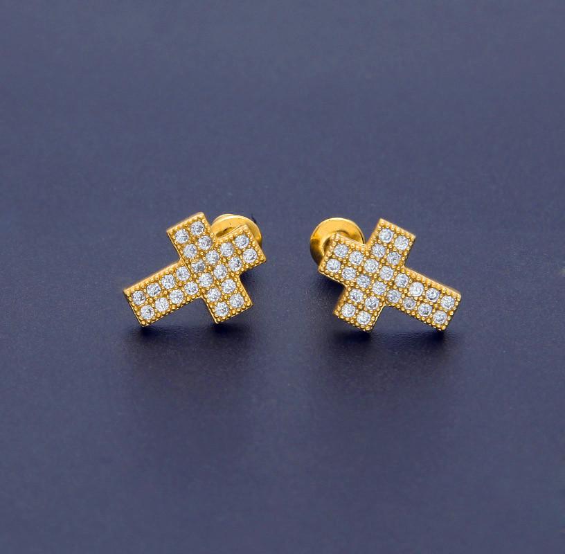 Pendiente pendientes aretes XL cruz circonita Crystal pedrería