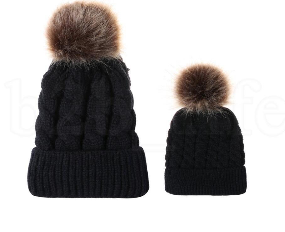 Kinder Mädchen Hüte Mutter Tochter Warme Strickmütze Familie Passende Kinder Hüte Und Kappen Winter pompom Hut Beanie Caps KKA6008