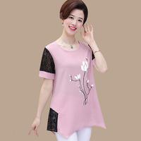 new-fashion-middle-age-mother-women-short-sleeve-summer-chiffon-blouse-female-lady-o-neck-lace.jpg_200x200