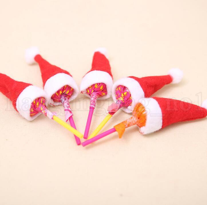 Mini Lint Santa Claus Hat Christmas Xmas Holiday Lollipop Top Topper Decor Christmas Festival Party Ornament Decor MINI HAT KKA6021