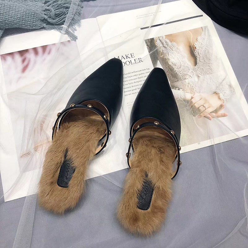 Outside Fashion Sexy Fluffy Fur Slippers Women Mixed Colors Rivet Sewing Closed Toe Ladies Slides Flat With Low Winter Shoes