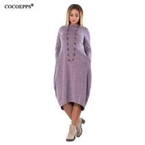 COCOEPPS-2018-New-Autumn-Velvet-Mid-Calf-Dress-Women-Large-Size-6XL-Dress-Loose-Green-long