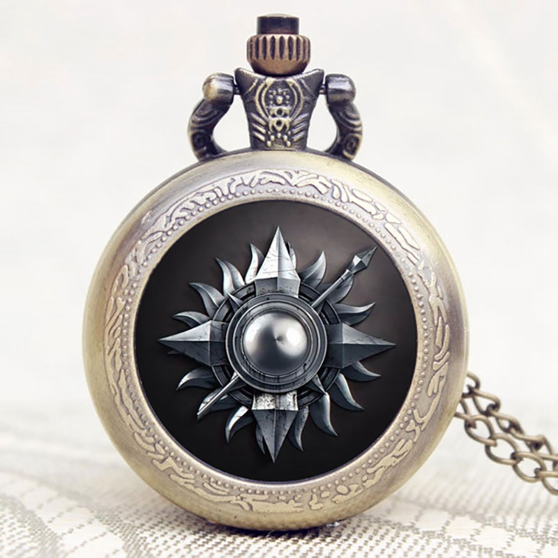 Casual Game of Thrones Family Totem Design Pocket Watch Chain Quartz Watches for Men Women