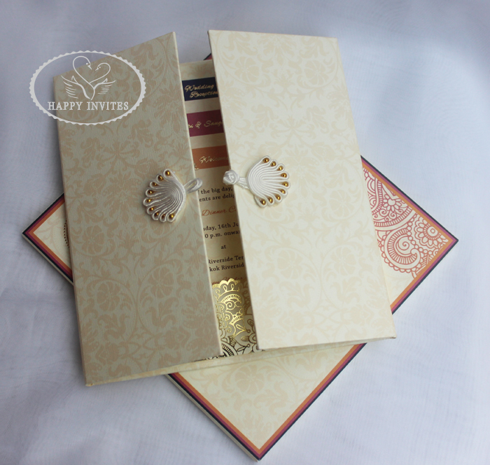 HI1091 - 15 Personalized Hard Cover Gate Fold Wedding Card with Gold Foil