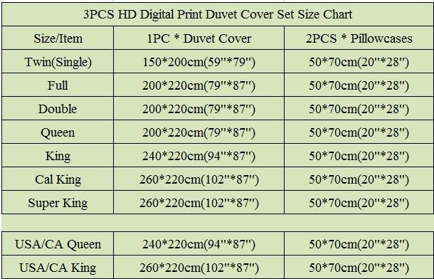 3pcs size chart