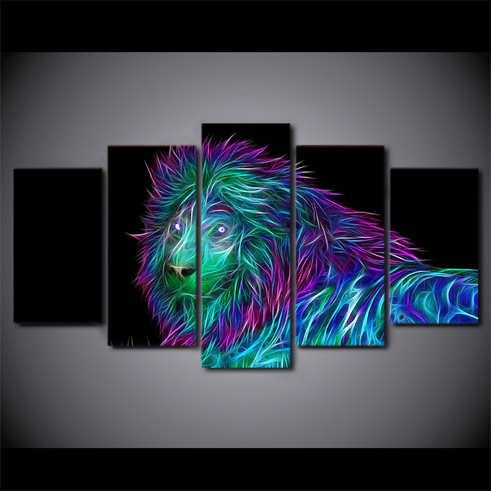 HD Printing Frame 5 Panel Colorful Lion Canvas Painting Home Decorative Picture Wall Artwork Prints Panels Poster For Living Room