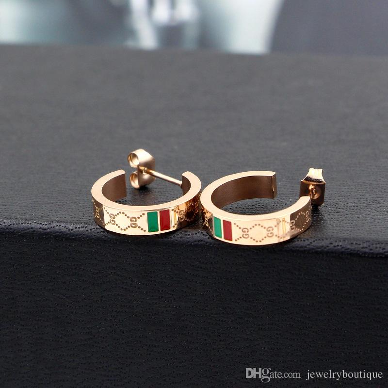 2017 Classic style Punk Men and Women Enamel green and red Stainless Steel Ear Hoop Earrings Gauges NEW mix styles Jewelry PS5646