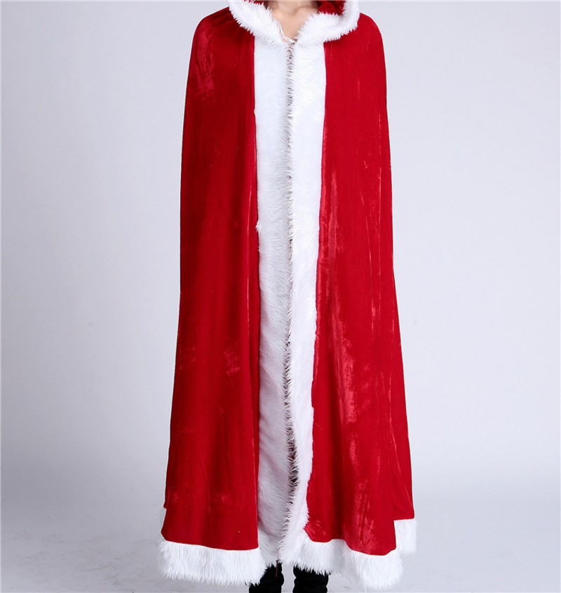 Christmas Red Cloak Cape Cosplay Costume For Adult Women Hooded Xmas Santa Claus Stage Show Party Clothing new