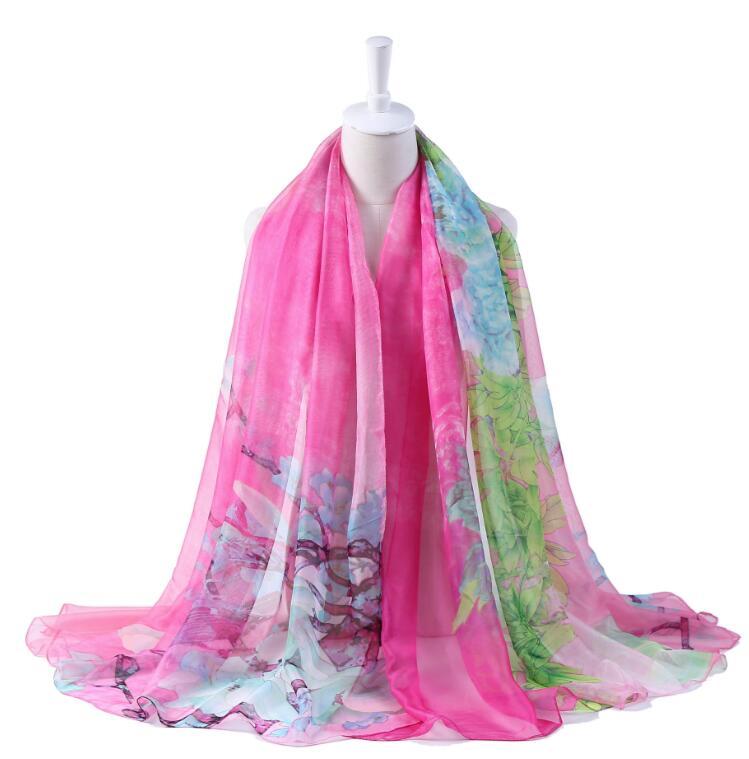 C5-01 Pink Peony Flower Butterfly Nature Print Women Shawl Wrap Chiffon Scarf