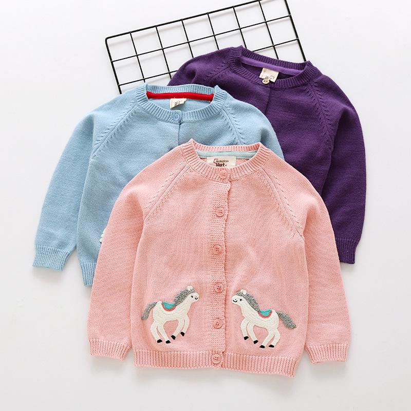 INS estilos nueva venta caliente Chica niños primavera otoño manga larga Pure algodón Cardigan elepant polluelo caballo patrón suéter hecho punto para niños