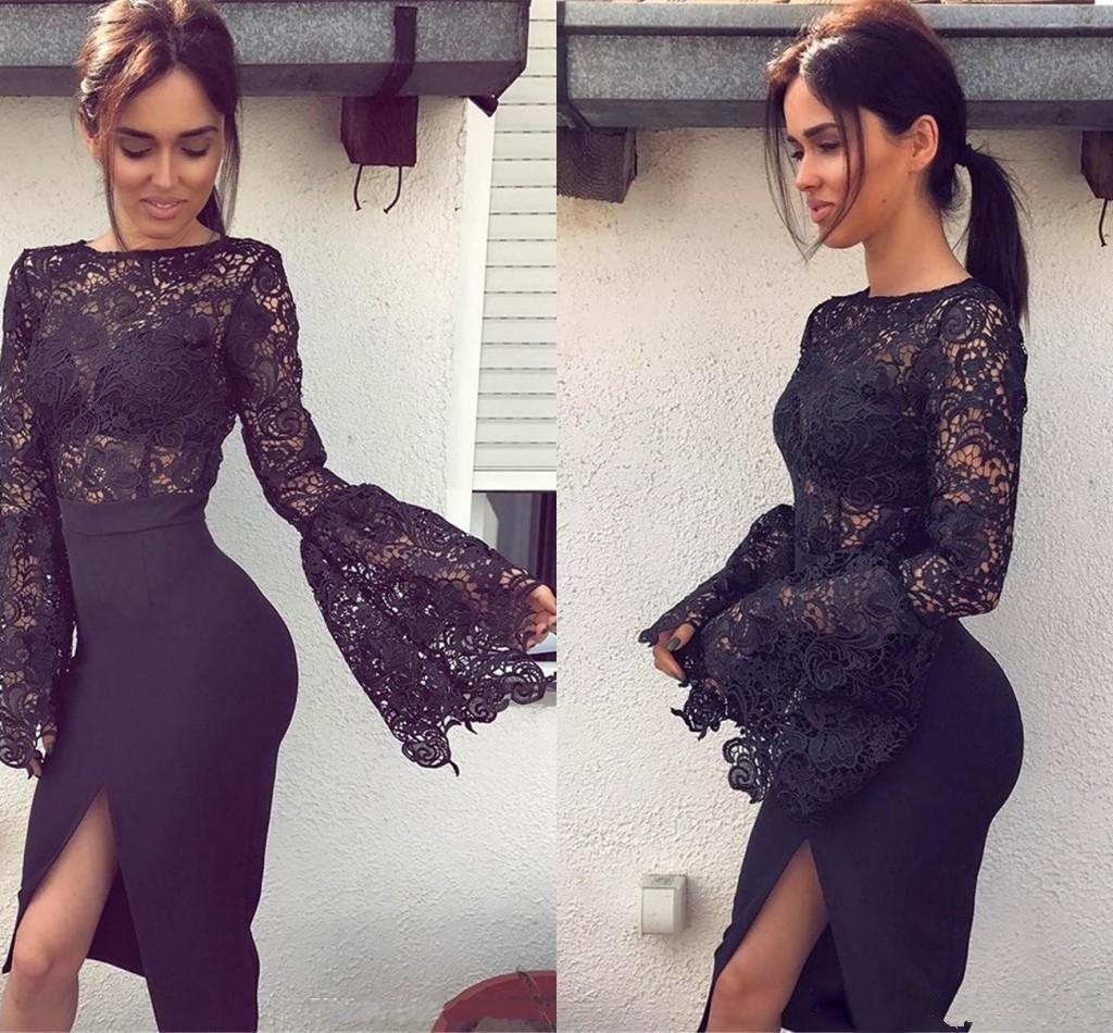 2019 little black abendkleider mit langen Ärmeln spitze formale cocktail  party kleider side split sexy kurze abendkleid plus größe