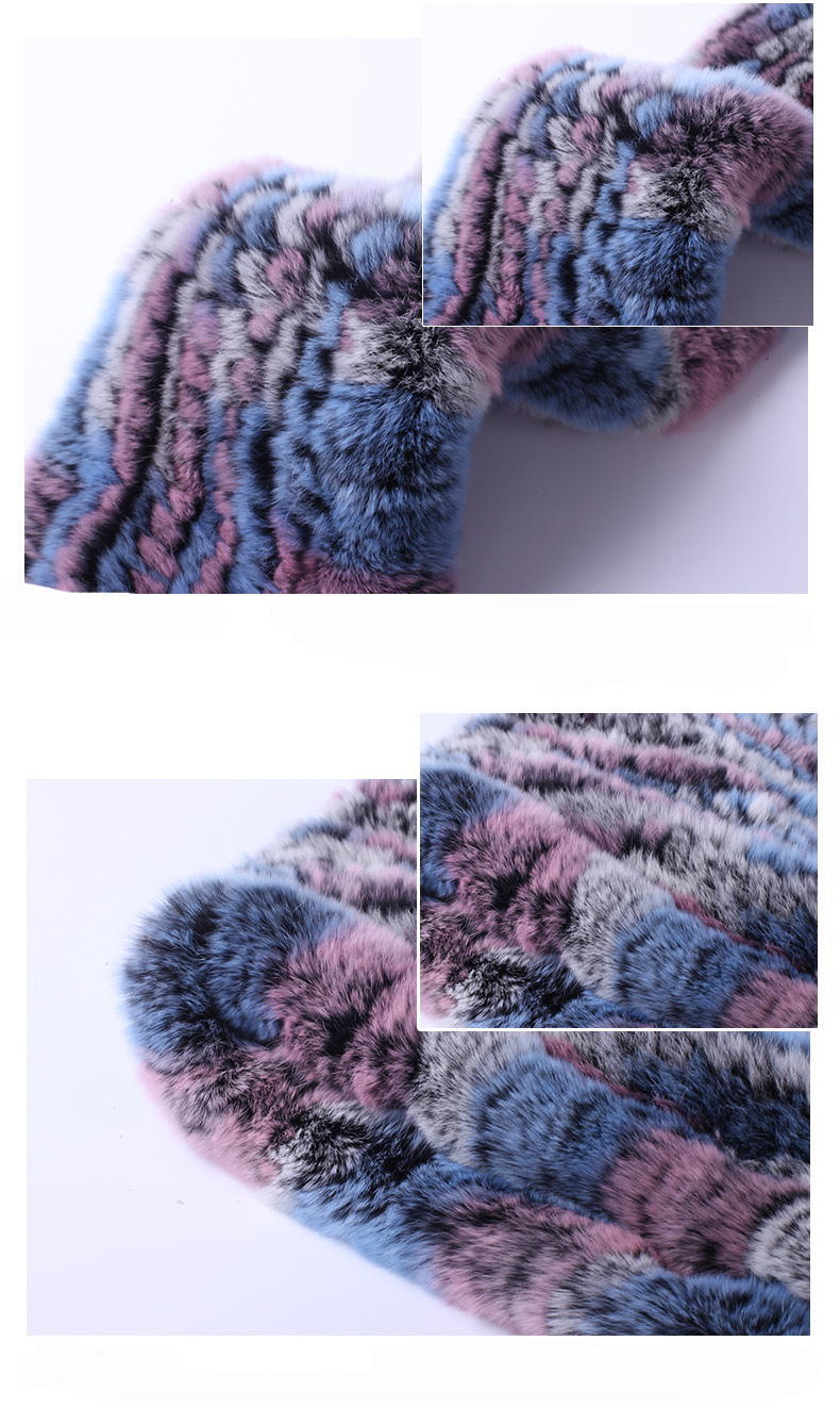 Hat Women 2017 New Knitted Real Rex Rabbit Fur Hat Hooded Scarf Winter Warm Natural Fur Hat With Neck Scarves (6)