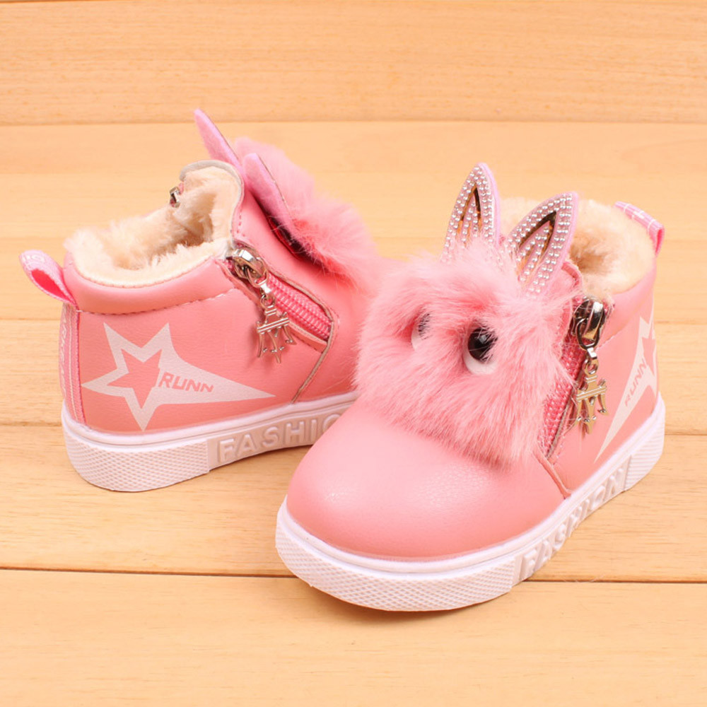 2018 Cute Winter Baby Boots Soft Velvet Sneakers Children's Autumn Toddler Ankle Felt Boots Kids Warm Snow Shoes For Boys Girls