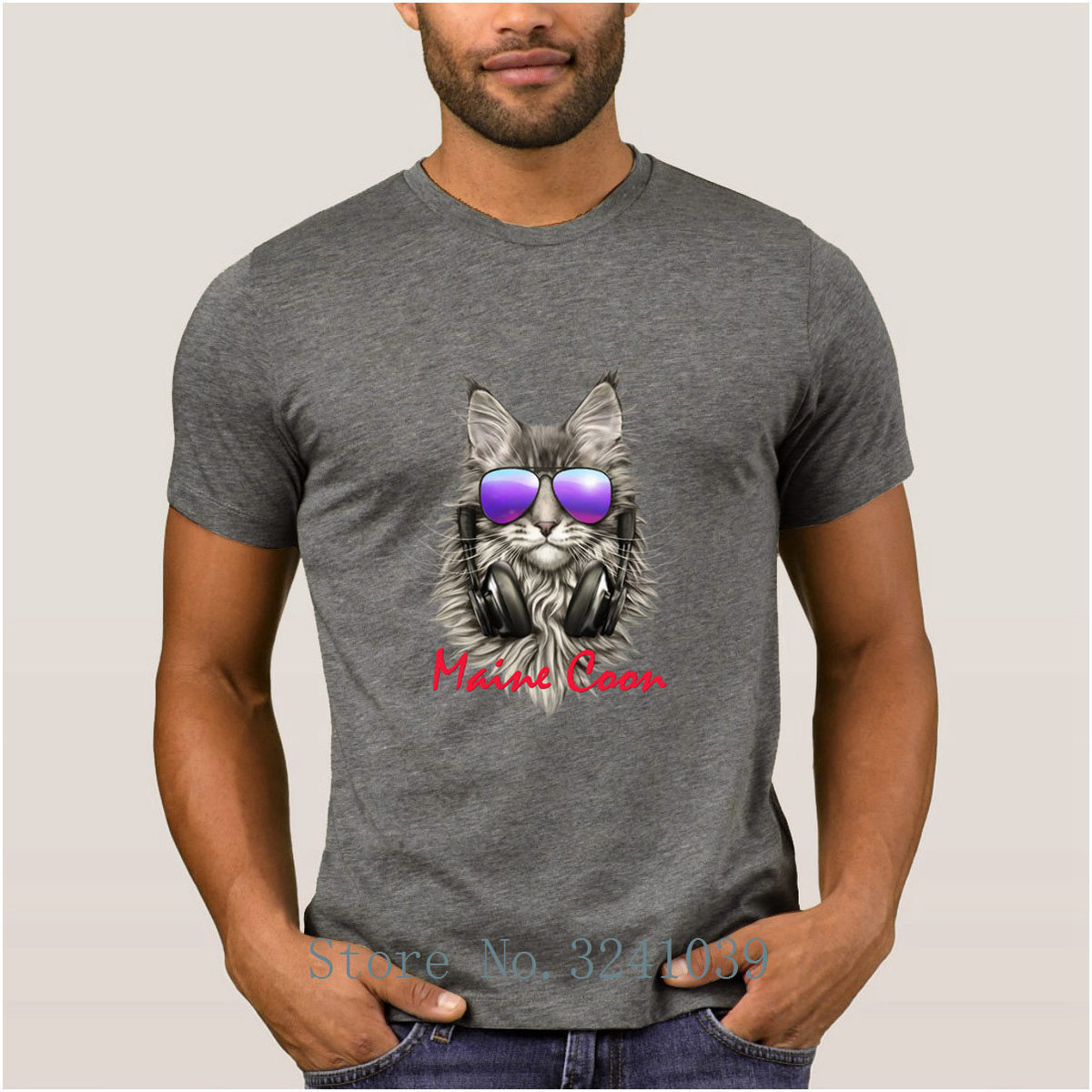 La Maxpa Print Great maine coon t shirt summer Fit Crazy DJ Cat t-shirt men large Novelty tee shirt Short Sleeve HipHop
